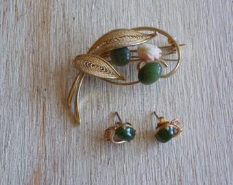 Vintage Jade Brooch and Earrings Set