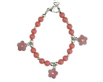 Cute Flower Girl Pink Coral Pearls and Enamel Flowers Bracelet (BCPEF)