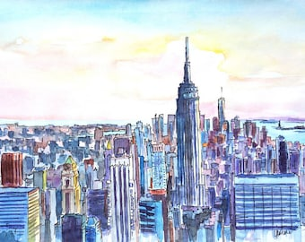 Wide Panorama of Manhattan with New Jersey and Brooklyn Watercolor - Limited Edition Fine Art Print