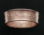 Bronze Coin Ring 1982 Malta 1 Cent, Ring Size 9 1/2 and Double Sided