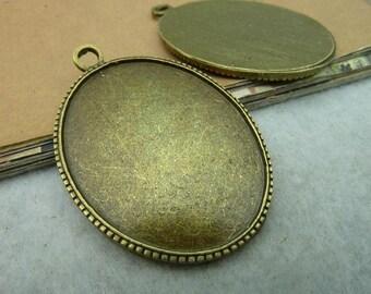 6pcs 40x30mm antique bronze cabochon pendant settings C2814