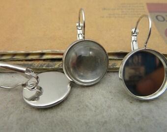 10pcs 16mm silver cabochon earrings settings C4323