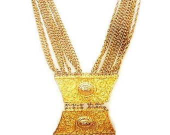 "Egyptian Revival Statement Necklace Dangling Tassel Chains & Gold Plaques Huge 30"" Vintage"