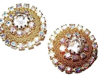 """Rhinestone Earrings Icy Aurora Borealis Color Gold Mesh Domed Clip Back Style 1"""" Vintage"""