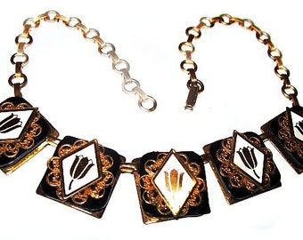 "Art Deco Bib Necklace Black Art Glass Squares Gold Tulip Design Filigree Metal 15 1/2"" Vintage"