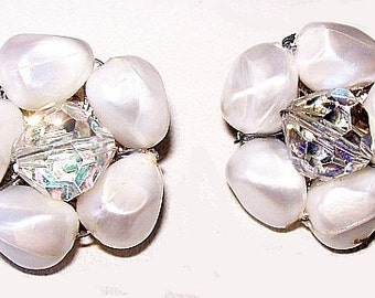 White Pearl Earrings with AB Rhinestones Cluster Clip On Style 1950s Vintage