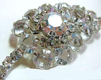 "Weiss Rhinestone Brooch Pin Leaf Design Ice Clear Rhinestones Silver Metal 2 1/2"" Vintage"