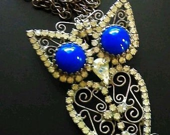 "Weiss Owl Pendant Rhinestones & Blue Cabochons Silver Metal Big Bold 24"" Vintage"