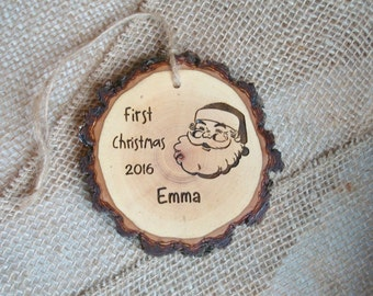 First Christmas Ornament, Baby's First Christmas, Wood Slice Ornament, Custom Engraved Ornament, Santa Ornament, Personalized Ornament