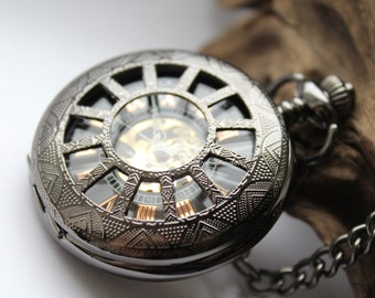 Victorian Pocket Watch Mechanical Mens Watch with chain Personalized Gift For Him Groomsmen gift VSM022