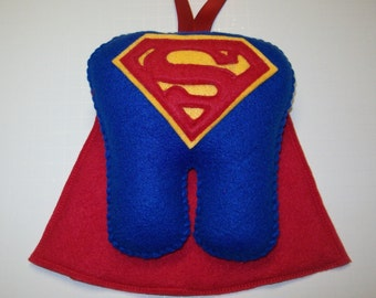 """7"""" Superman Tooth Fairy Pillow with Ribbon - Ready to Ship!"""