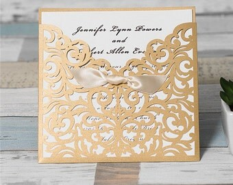 Gold Wedding Invitations. Shimmery Laser Cut Pocket Style Wedding Invitation. Elegant Wedding. Laser Cut. Modern Chic Wedding. Gold Wedding.