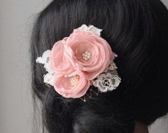Blush Wedding Bridal Headpiece Vintage Inspired Bridal Hair Accessory Blush Bridal Hair Clip Lace Bridal Hair Piece Chiffon Flower Clip