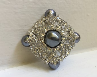 Nolan Miller Faux Pearl Crystal Brooch Pin