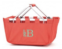 Coral Market Tote - Personalized Embroidered Sports Bridesmaid Gift Teacher Gift