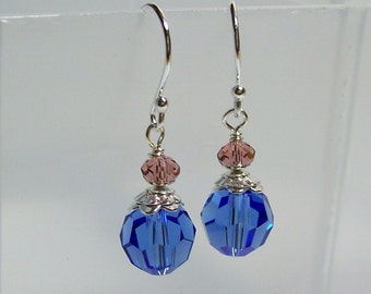 Swarovski Crystal Earrings. Blue Crystal Earrings. Sterling Silver Swarovski Earrings. Dressy. Sparkly. Swarovski Dangle Earrings.
