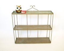 UNIQUE gold wire mid century 3 tiered metal wall display shelf