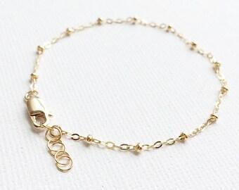 Chain Bracelet, Satellite Bracelet, 14K Gold Filled Satellite Bracelet, Available in Sterling Silver, Thin and Feminine, Simple Bracelet