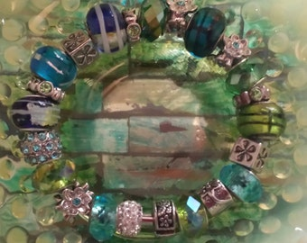 Euro Style JUST REDUCED! Big Hole Bead Bracelet Fully Loaded Bracelet-Aqua Blue/Teal Leather Band Magnetic Clasp With locking Bead