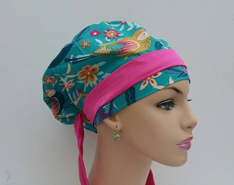 Handmade Woman Surgical Scrub Cap - It is a Birdie's Thing - 100 % cotton