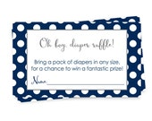 Navy Polka-Dot Baby Shower Invitation Insert, Diaper Raffle Cards Set of 25 Printed, Baby Boys Shower Games, Diaper Request Insert (NAVPODR)