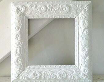 Vintage White Frame Ornate Wood