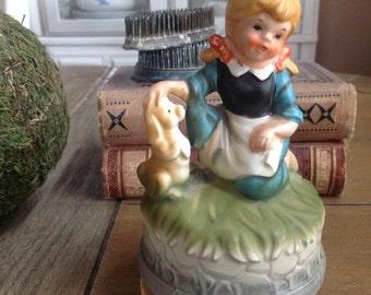 Lovely Vintage Porcelain Music Box Made in Japan Kneeling Girl and Rabbit