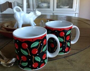 Mary Engelbreit Cherries Mugs from Sakura Set of Two