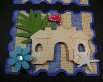 Summer, Sand castle, Beach Scrapbook Embellishment, Paper Embellishment, Card topper, Tags, Handmade Scrapbook Embellishment
