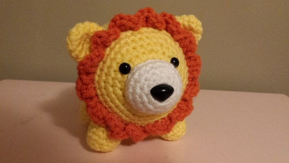 Lion- Crochet Amigurumi Stuffed Animal Plush- Yellow