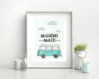 "Adventure Awaits Camper Van Print, Wall Art, Encouragement, 8""x10"""