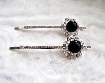 PAIR of Silver Black Hairpins, 2 bridesmaids Hair Pins, Wedding hairpiece, Bridal Headpiece, Bobbies, Flower Hairpins, Flower girl