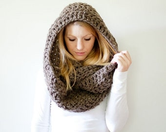 SUMMER SALE Extra Chunky Cowl Scarf Hood Loop Infinity scarf - the DAKOTA infinity - barley - wool blend