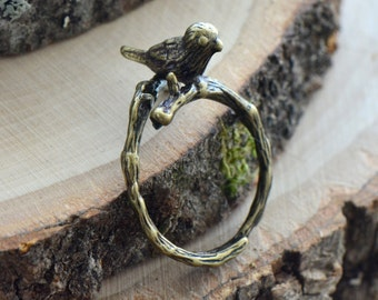 Bird Ring - Antique Bronze Finish - Bird on Branch Adjustable Ring - Vintage Style - Dainty Jewelry
