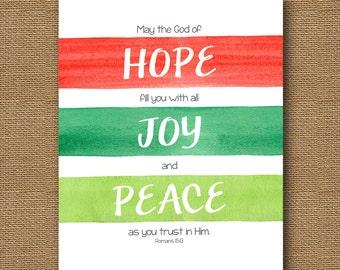 Instant Download   Christmas Watercolor Stripes Wall Art   DIY PRINTABLE   Scripture 8x10   Romans 15:13   Hope, Joy & Peace Printable Art