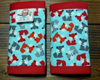 Reversible NEWBORN Car Seat Strap Covers Ann Kelle Mini Foxes on Blue with Red Dimple Dot Minky Cuddle Baby Boy Accessories ITEM #256