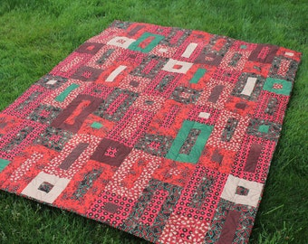 Large Lap Quilt Handmade Patchwork in Red Brown Green