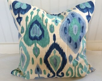 Navy and Turquoise Ikat Pillow Covers in Richloom's Django Turquoise
