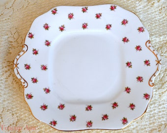 Aynsley Rosedale Square Handled Cake Plate, English Bone China Cookie Plate With Roses, Replacement China, Afternoon Tea, ca. 1930-1940