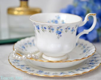 ON SALE Royal Albert Teacup Trio  Memory Lane, Bone China English Tea Cup Set, Blue Flowers, ca 1970
