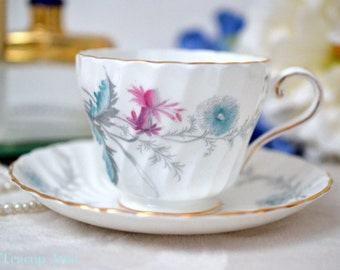 Aynsley Swirled Teacup And Saucer Set Wayside Crocus, English Bone China Tea Cup, Wedding Gift, ca. 1934-1939