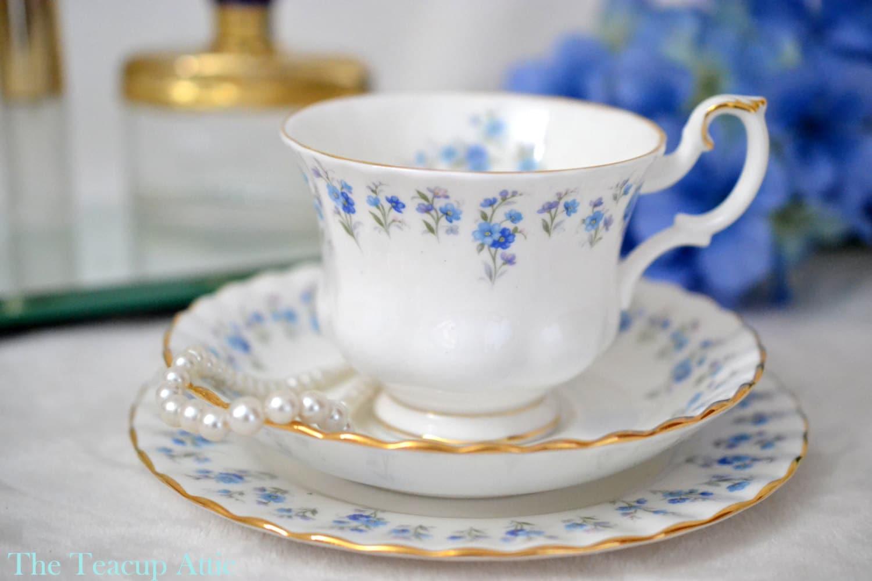 Royal Albert Teacup Trio  Memory Lane, Bone China English Tea Cup Set, Blue Flowers, ca 1970