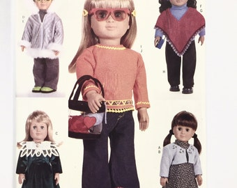 UNCUT Butterick 6855 18' Doll Clothes Sweater Poncho Dress Parka Top Pants