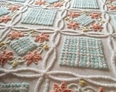 Vintage Chenille Bedspread Double White with Baby Blue and Rose Colors