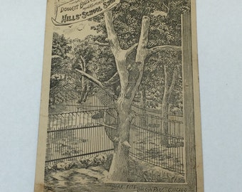 Antique Trade Card Duggett Bassett and Hills Co. Mill's School Shoes Victorian Trade Card Featuring Bear Pits Lincoln Park Chicago 1870s