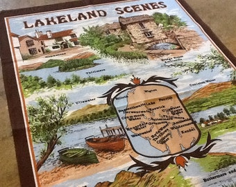 British Souvenir Towel Lakeland Sailing Scene