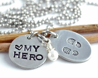 Military Wife Hand Stamped Necklace | My Hero Wears Combat Boots | Personalized Necklace | Army Wife Pendant | Military Support Jewelry