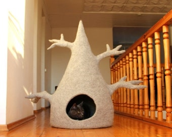 SALE Cat house - cat tree - cat bed - wool cat cave - light grey felted wool cat bed - made to order
