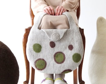 SALE Natural beige handbag - felted tote bag with green brown bubbles - women handbag