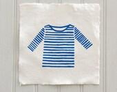 Screen print, Breton, Top, Stripe, T Shirt, Blue and White, Hand Pulled, Silk Screen, Art Print, Decoration, Mum Uniform, Housewarming, Gift